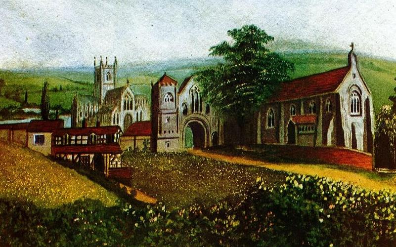 Reconstruction of Bordesley Abbey from the West; from a painting by F. Woodward, 1866 [1]