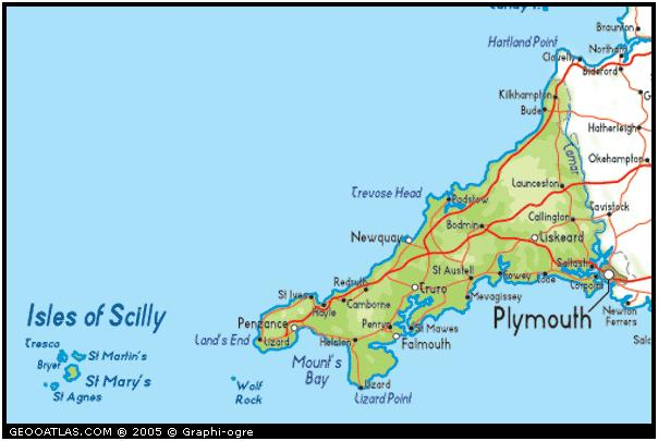 Image showing the Isles of Scilly, and Cornwall, the most south-westerly point of the British Isles. [1]