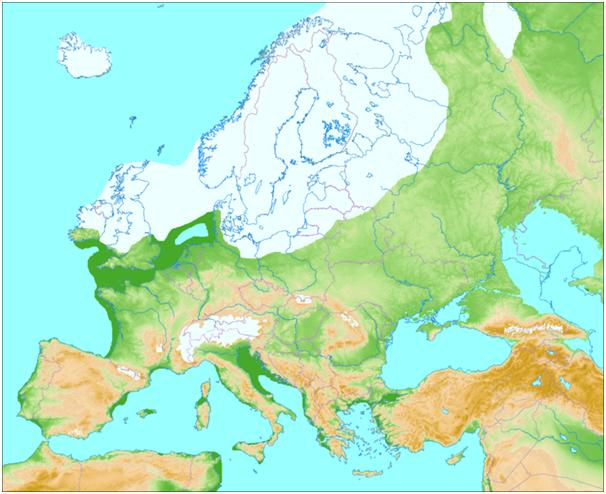 Image shows European Land Mass, up to 15,000 years ago. The lands off the coast of Cornwall would have been above sea level at this point. Image courtesy of Wikipedia [5]